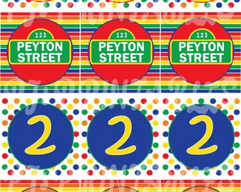 Sesame Street inspired Primary Color Cupcake Toppers- Customized Digital File