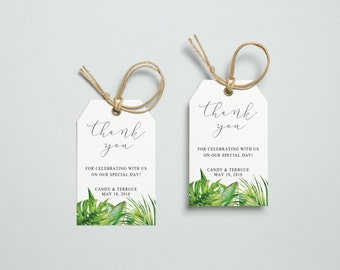 Thank You Tag, Wedding Thank You Tags, Gift Tags, Wedding Favor, Thank You Printable, Wedding Printable, Topical Tags, Aura collection