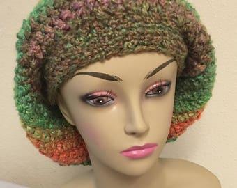 Handmade crochet slouchy hat tam for the colder days