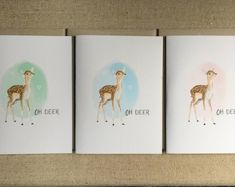 Oh Deer! A Baby Is Near! - New Baby Card