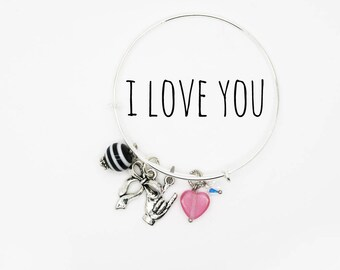 Universal Sign Language 'I Love You' Bangle--For Her--Love--Trending--Pink--Teen--Statement Jewelry--Valentine's Day--Anniversary--Wedding