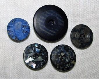 Vintage Blue Composition Buttons Button Assemblage