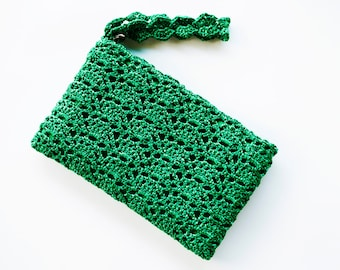 Emerald Green Clutch Bag, Green Crochet Purse, Lace Wristlet Evening Bag, Emerald Wedding Gift Bag, Green Bridesmaid Purse, CUSTOM COLORS