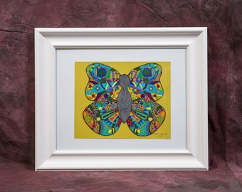 Framed Original Drawing: All Things Bright and Beautiful Butterfly