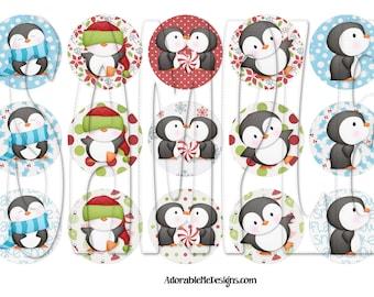 Penguins Bundle Digital Bottle Cap Images