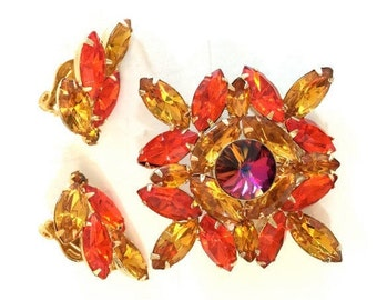 Rhinestone Orange & Topaz Demi, Brooch and Earring Set, Vitrail Rivoli Center Stone,