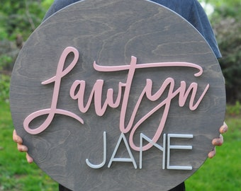 """Wood Sign Personalized - Kids Signs - 24"""" Round - Nursery Sign Boy Girl - Round Name Plaque - Wooden Decor"""