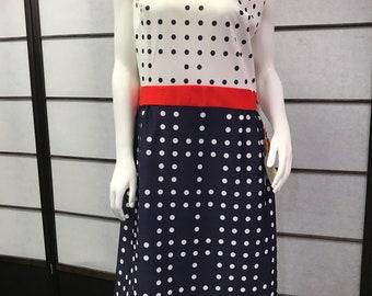 60s/70s Deadstock Polka Dot Blue Double Knit Dress Never Used
