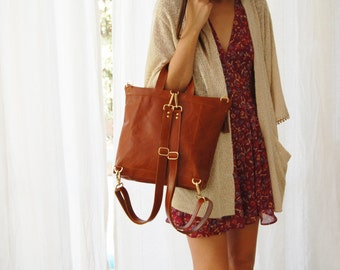 Brown cross body bag for women ,brown leather backpack for women, convertible backpack, large shoulder bag, brown leather crossbody bag,