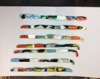 Fused glass swizzle sticks