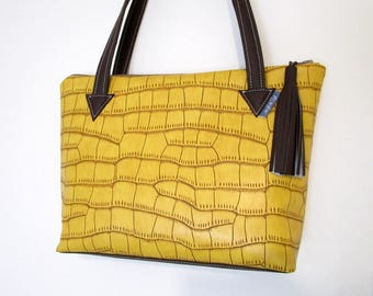 Saffron yellow leatherette and faux chocolate leather tote bag