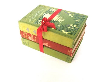 Shabby Chic Green and Red Book Collection, Cranberry and Olive Books, Antique Book Decor, Book Stack, Interior Design, Decorative Book Cover