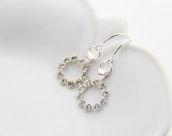 Swarovski Crystal Dangle Earrings Sterling Silver Modern Sparkle Bridal Earrings for Wedding or Under 25 Gift for Girlfriend Open Circles