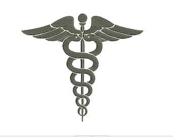 Caduceus Medical Symbol Design Embroidery Fill Design  Machine Instant Download Digital File EN2022F1