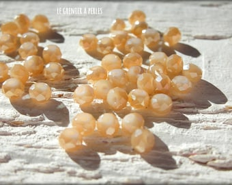 Abacus 3 mm peach pearls iridescent X 50