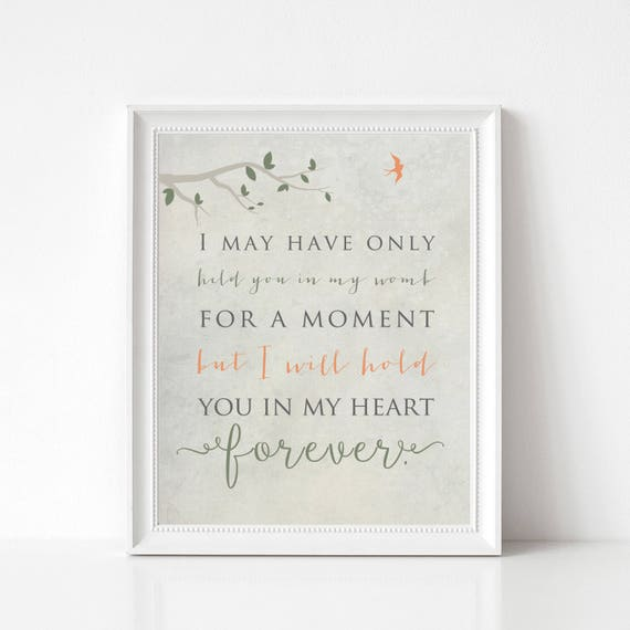 Baby Memorial Gift Print - Miscarriage Gift, Infant Loss, Stillborn Memorial - I May Have Only Held You for a Moment