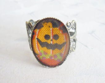 Pumpkin Ring, halloween cabochon ring in Japanese fabrics, halloween jewelry, halloween ring, gift for her