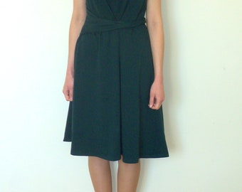 Summer Flared Dress,  Green Dress, Cap Sleeved Cotton Jersey Dress.