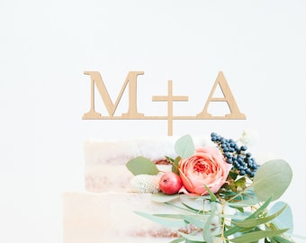 Initials Cake Topper, Monogram Cake Topper, Custom Wedding Cake Topper, 2 Initial Cake Topper, Letter Cake Topper, Wood Cake Topper
