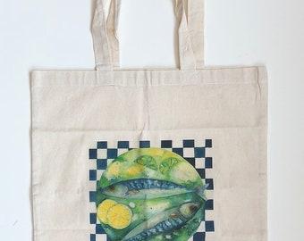 Fish Dish Cotton Canvas Tote Bag