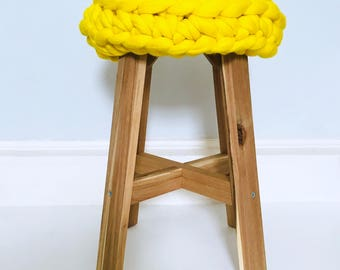 Chunky knit Olivia Stool   Merino wool & Solid Acacia wood   Sumptuous treats for your home