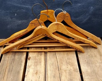 Lot of 5 Vintage Wood Advertising Clothes Hangers