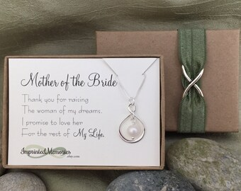 Mother of the BRIDE Gift from Groom - Mother of the Bride Necklace Sterling Silver Freshwater Pearl Thank You Raising the Woman of My Dreams