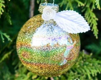 Paillettes d'or blanc en verre décor d'arbre ornement rond blanc Rose cristal diamant bordure dorée, Double-Satin ruban Ivoire, Noël vacances