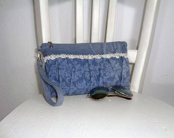Denim wristlet clutch evening bag boho recycled up-cycled jeans