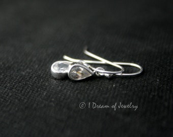 Tiny sterling silver earrings- teardrop crystal CZ, hook or leverback