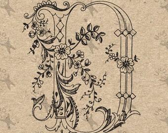 Vintage Monogram Initial Letter D Instant Download Digital printable clipart graphic Calligraphy for Burlap, Towels, kraft etc HQ 300dpi