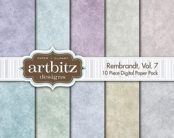 "Rembrandt, Vol. 7, 10 Piece Digital Scrapbook Paper Pack, 12""x12"", 300 dpi .jpg, Instant Download!"