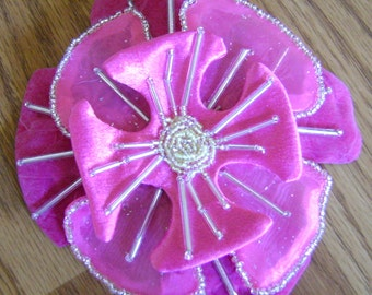 Pink Fabric Barrette 5 1/4 Inch Diameter