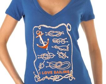sailing gift - sailing shirt - sailing print - womens tshirts - nautical shirt - nautical gifts - beach shirt - I LOVE SAILING - deep vneck