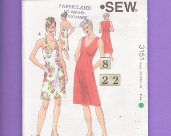 V Neck, Knit Sundress Sewing Pattern/ Kwik Sew 3151 Women's Fit & Flared Empire Waist, Halter Summer Dress, UnCut/ Size 10 12 14 16 18 20 22