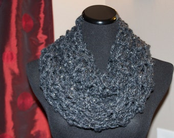 Cascade Chunky Infinity Cowl Dark Gray Constellation READY TO SHIP