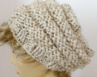 Mens or Womens Hand Knit Beehive Slouch Hat Color Oatmeal (H-126)