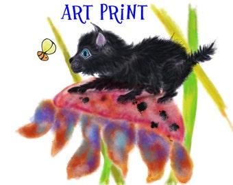 Black Rescue Kitten Wall art Spookie in the Flowers #2