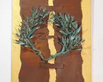 Bronze chaplet, Olive leaves, Wooden tableau, Bronze, Rust iron, Gold, Bronze Sculpture, Paint, Wreath, Brass,