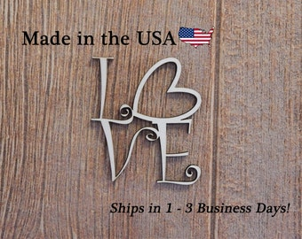 Love Sign, Wood Art, Wood Love Sign, Wall Art, Heart Decor, Folk Art, Wooden Sign, Indoor Decor, House Decor, Love Decor, LS1005