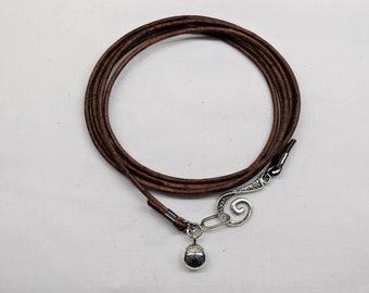 Leather wrap bracelet, Ladybug