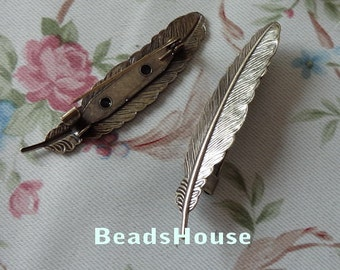 4pcs  Antique Bronze Plated Brass Feather Filigree Brooch, NICKEL FREE