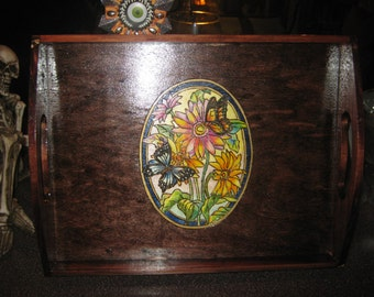 Serving Tray with Flowers