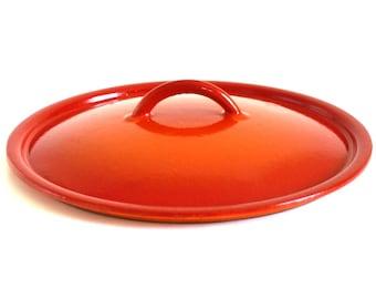 """Descoware Lid Orange 22 FE Belgium Enamel Cast Iron Cookware Lid 8 7/8"""""""