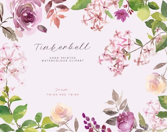 Watercolor Flower Clipart - Tinkerbell. Hand painted floral graphics, perfect for creating stationery.