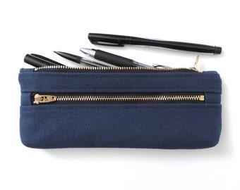 Canvas Pencil Case Double Zipper Pencil Pouch Navy Blue
