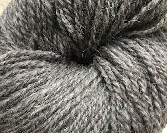 100% hand spun Masham wool in dark grey
