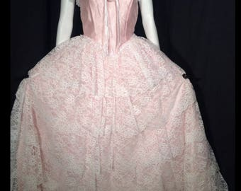 Gorgeous Vintage Pink Satin Southern Belle Ball Gown Lace Tiers Layered