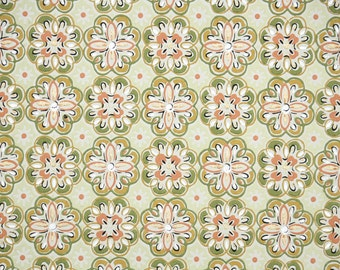 1950s Vintage Wallpaper by the Yard - Orange Green and Gold Geometric Design