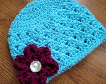PDF Crochet Pattern - Criss-Cross Beanie Hat with CURLED FLOWER- 6 sizes - Newborn to Adult